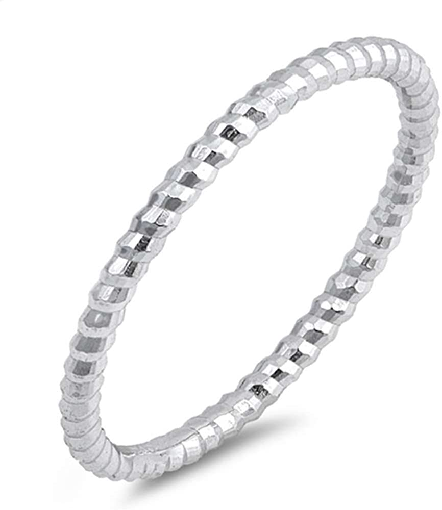 Yellow Gold Diamond Cut Stackable Ribbed Band Sterling Silver Ring Size 2-10