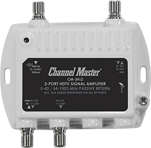 Channel Master CM3412 - Amplificador de señal de TV (Negro, Color blanco)