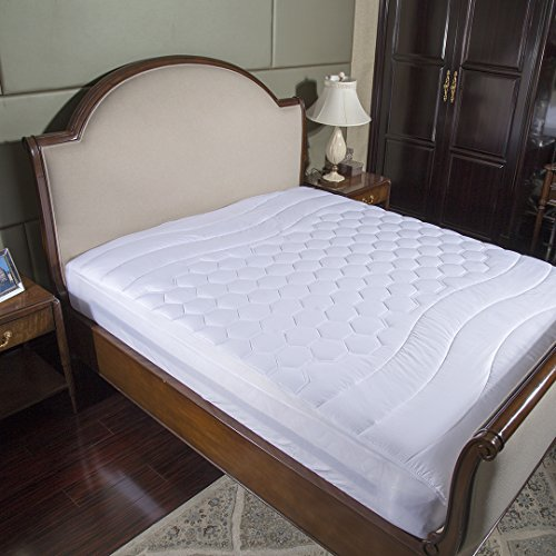 Mattress Pad Full Hypoallergenic Overfilled Quilted Breathable Soft Microplush by Bedsure (Full Size Mattress Pads)