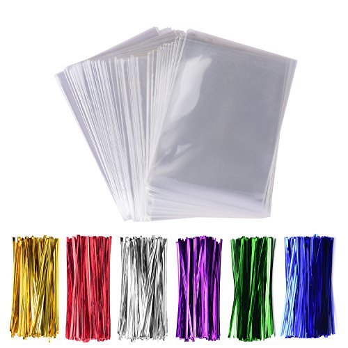200 Pack Cello Treat Bags with 6 Mix Colors Twist Ties Perfect forLollipop Candy Cake Pop Chocolate Cookie Wrapping Buffet (3'' x 4'')