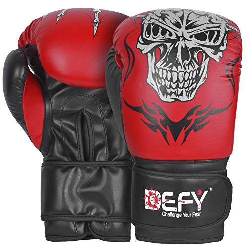 (DEFY Boxing Gloves for Training MMA Muay Thai Premium Quality Guaranteed Synthetic Leather Infused Gel Gloves for Punching Heavy Bags, Sparring, Kickboxing, Fighting Gloves Skull Model (Red, 16)
