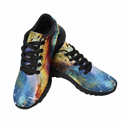 Interestprint Femmes Jogging Running Sneaker Léger Aller Facile Marche Confort Sport Chaussures De Course Note De Musique, Espace, Étoiles Multi 1