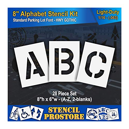 Pavement Stencils - 8 inch Alphabet KIT Stencil Set - (28 Piece) - 8