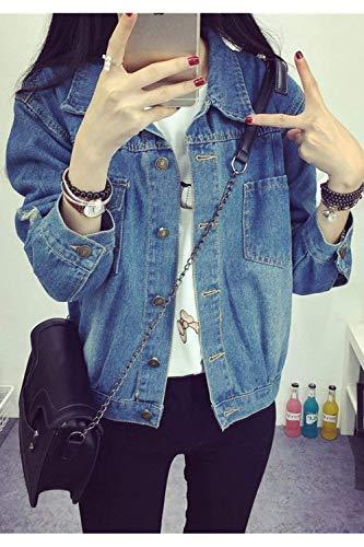Jeans Primaverile Ragazze Autunno Lannister Donna Blue Giacca Fidanzato Bavero Relaxed Fashion Elegante Lunghe Giacche Casual Vintage Ragazza Maniche Strappato TX6a6gqr