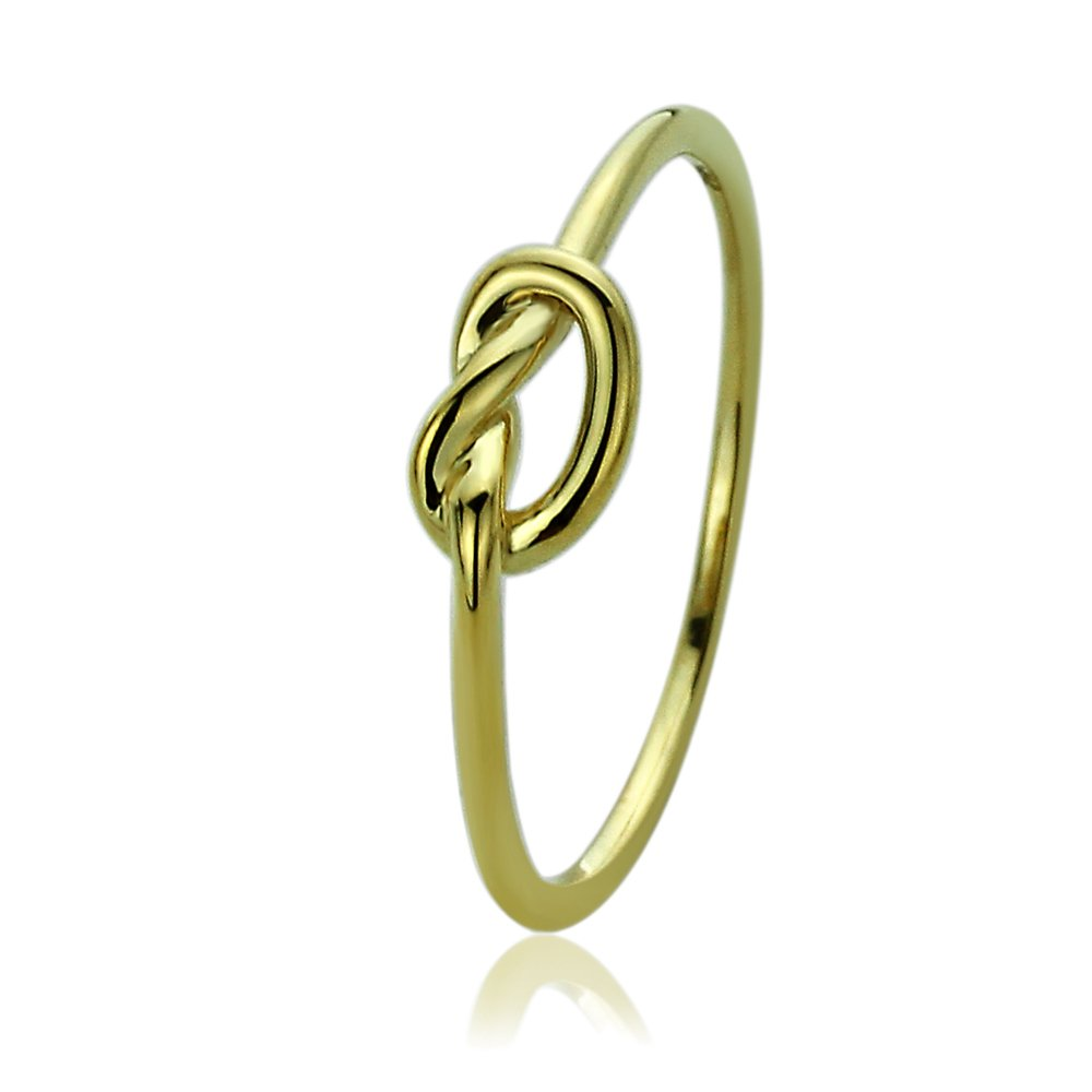 Double Accent Sterling Silver 14K Gold or Rose Gold Plated Wedding Ring Celtic Love Knot Promise Ring 5mm (Size 2-13), 5