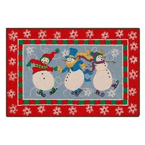 C&F Home Skiing Snowman Hooked Rug, 2' x 3' , Red (Snowman Skiing)