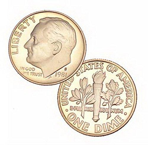 Roosevelt Dime 10 Cent Coin (1981 S Us Mint Roosevelt Proof 10 Cent Dime Coin)