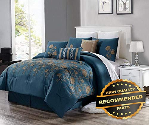Duvet Cover Newport Set (Sandover 3PC Duvet Bed Comforter Cover Set Teal Blue Taupe Embroidery Flowers #8Cal-King | Style DUV-5301218201)