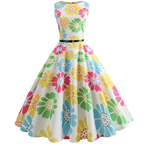 Birdfly Summer 10 Type Women Butterfly & Floral & Pineapple Pattern Hepburn Style Skirt Dress with Waist Belt Plus Size 2L