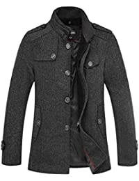 "<span class=""a-offscreen"">[Sponsored]</span>Winter Wool Blend Classic Pea Suit Coat Single Breasted Thicken Slim Fit Jacket"