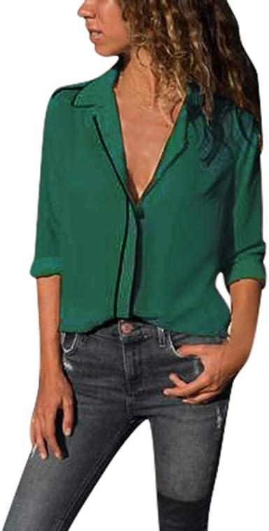DUJIE Camisa 👕 Camiseta de Manga Larga para Mujer, Básica Camiseta de Manga Larga Elegantes Blusa de Verano Oficina de Tops Blusas Camisetas de Gasa Ropa de Mujer, S M L XL