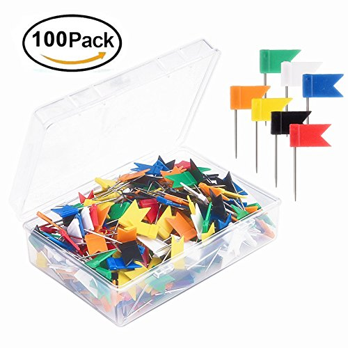 FashionMall Map Colorful Flag Push Pins(Pack of 100pcs), Plastic Head (1.37-Inch) with Stainless Steel Point Push Tacks (7 Colors - Locations Map Target