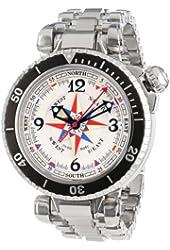 Gio Monaco Men's 369 Poseidon White Dial Automatic Stainless Steel Compass Watch