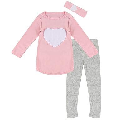 7cb2dcffc887 Amazon.com  Toddler Baby Girls Heart Long Sleeve Shirt Leggings Pant ...