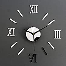 {Factory Direct Sale} Chic DIY Adhesive Silver Vintage Roman Numeral Number Frameless Wall Clock 3D Home Decor