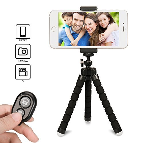 16' Remote Control Pedestal - Gvoo Phone Tripod with Remote Control, Flexible Phone Stand Holder with Wireless Bluetooth Camera Shutter for Smartphones iOS iPhone 8 Plus 7 Plus 6 6s Plus, 5, 5s, 5c and Android, Samsung Galaxy