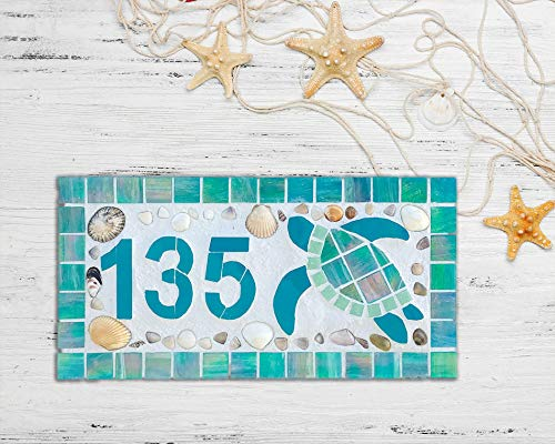 Box Tile Turtle - Zora Camp Mosaic House Number Plaque Outdoor House Number Beach Mailbox Number Horizontal Tile Number Turtle House Number Mosaic Tile Seashell Tile