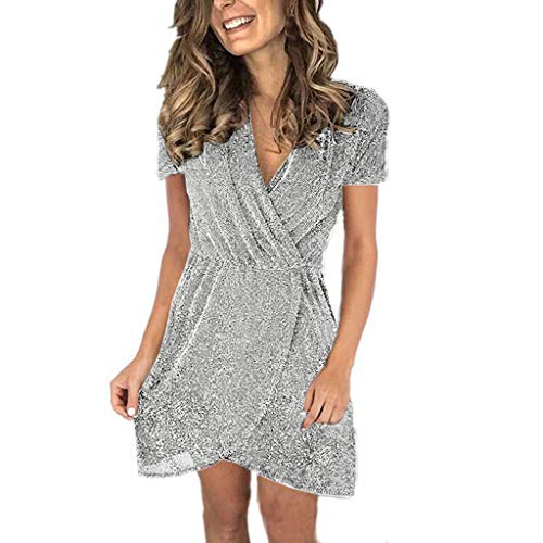 QueenMM Women's Casual 3/4 Sleeve Ruched Cocktail Party Dresses Wrap V-Neck Sequin Club Party Mini Dress Fashion Design