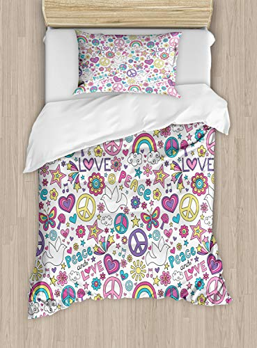 Ambesonne Doodle Duvet Cover Set, Retros of Sixties Peace Magic Mushroom Love Stars and Hearts Hippie Music, Decorative 2 Piece Bedding Set with 1 Pillow Sham, Twin Size, Pink Purple