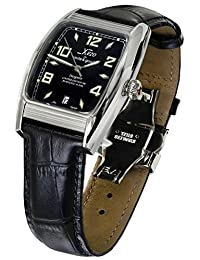 Xezo Incognito Men's 10 ATM Water Resistant Tonneau Automatic Watch. Swiss Sapphire Crystal. Luxurious Finish. X-Large Leather Wristband