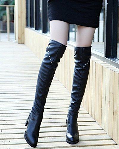 Minetom Mujer Invierno Largo Botas Hasta La Rodilla Boots Elástico Tacón Alto Boots Botas De Cuero Negro03