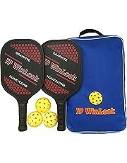 JP WinLook Pickleball Paddle Set - 2 Premium Graphite Rackets Honeycomb Composite Core 3 Balls, Ultra Cushion Grip, Portable Racquet Cover Case Bag Accessories Gift Kit, Men Women Kids Indoor Outdoor