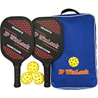 JP WinLook Pickleball Paddle Set - 2 Premium Graphite Rackets Honeycomb Composite Core 3 Balls, Ultra Cushion Grip, Portable Racquet Cover Case Bag Accessories Gift Kit, Men Women Kids Indoor Outdoor