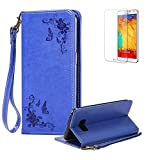 For Samsung Galaxy S8 Plus Case,Funyye Premium Rose Flower Embroidery Pattern PU Leather Wallet Magnetic Closure Cover with [Wrist Strap] Book Type Stylish Full Protection Holster Case Cover Skin Shell for Samsung Galaxy S8 Plus-Blue