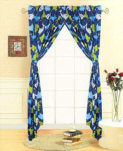 Decotex 4 Piece Blue Shark Kids Window Curtain Panel Drape Set with Tie Backs (Shark Curtains) (4 Panel Full Piece)