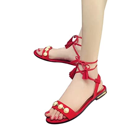 e7c0d1fa06f9e Amazon.com: Hemlock Strappy Flat Sandals Women Lace Up Boho Pearl Shoes  Slipper Platform Wedge Sandals (US:8, Red): Cell Phones & Accessories