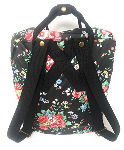Retro Picnic Gym Casual Travel Canvas Bag Ladies flower London Holiday Vintage Floral Black Amelia inspired Beach Park Rose Backpack Rucksack fWx6On