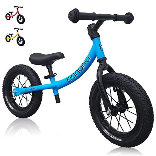 "banana bike GT - Balance Bike with 12"" Alloy Wheels for Kids 2, 3, 4, 5 Year Olds (Blue New)"