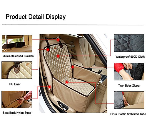 Systond Pet Dog Car Seat Cover Waterproof Booster Seat Carrier Protector 2 in 1 Deluxe Cat Front Seat Case Cushion with Non- Slip Backing for Travel Outdoor Boosterseat02 by Systond (Image #4)