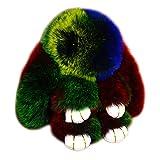 ACTLATI Soft Cute Bunny Charm Ring Keyfob Rabbit Fur Keyring Fluffy Pompom Keychain Decoration Colored