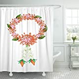 Ashleyallen shower curtain Symbol of Love and Luxury Beautiful Flower Garland with Red Ixoras White Jasmines and Roses the in Thai shower curtain 72 x 78 Inches shower curtain with plastic Hooks
