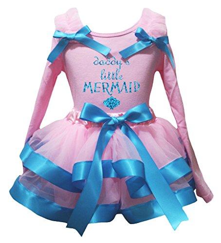 [Petitebella Daddy's Little Mermaid L/s Shirt Peacock Blue Pink Petal Skirt Nb-8y (1-3 Years)] (Little Mermaid Tutu Dress)