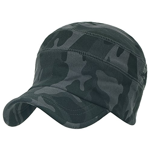 ililily Military Camouflage Pattern Cotton Casual Flex Fit Work Cap Soft Hat Dark Grey