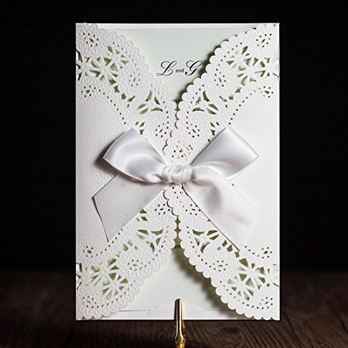 WISHMADE 50 Pieces Wedding Graduation Birthday Baby Shower Bridal Shower Invitations Cards Set White with Ribbon Envelopes Printable Blank Green Inner Paper - Double Invitation Envelopes