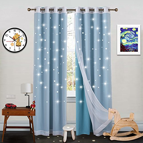 Nicetown Twinkle Star Curtains For Baby Kid Sky Wonder