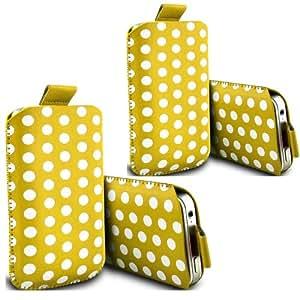 ONX3 - TWIN PACK - Nokia Asha 310 Polka Tab funda protectora de cuero de la PU tirón bolsa de la cubierta de piel (amarillo)