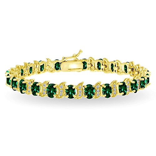 Oval Gemstone - GemStar USA Yellow Gold Flashed Sterling Silver Simulated Emerald 6x4mm Oval and S Tennis Bracelet with White Topaz Accents