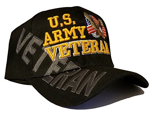 Army Black Baseball Cap US Veteran V American Flag USA Hat United States (Army Veteran Cap Black Side Shadow)