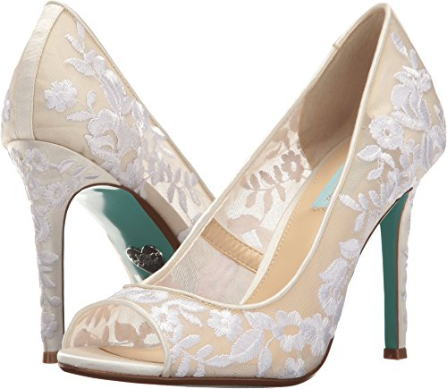 Blue by Betsey Johnson Women's SB-Adley Heeled Sandal, Ivory Fabric, 7 W US by Blue by Betsey Johnson