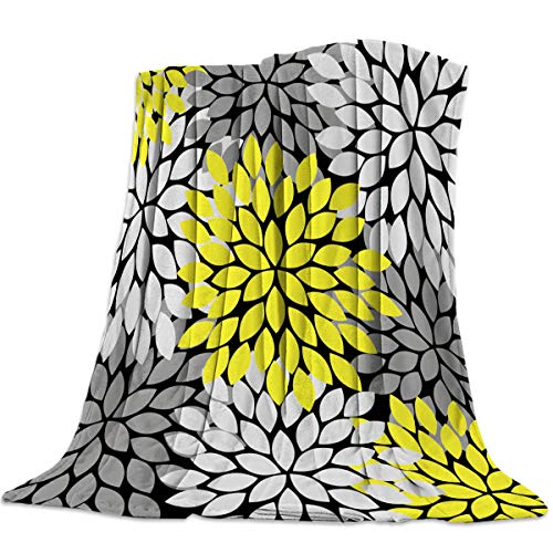 - CosyBright Lightweight Throw Blanket Yellow Light Gray Dahlia Floral Pattern Microfiber Comfy Warm Flannel Blanket for Home Chair Bed Couch 49X59In