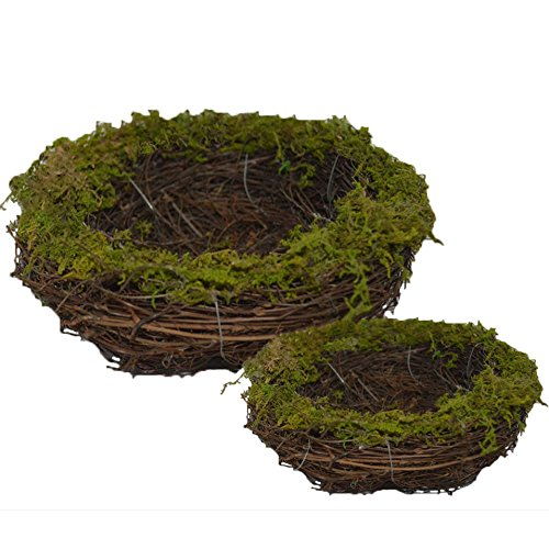 Forevercute Set of 2 (6''& 8'') Easter Faux Natural Moss,Rattan and Twig Bird's Nest ( No bird ),Handmade Dry bird nest for Home Decor