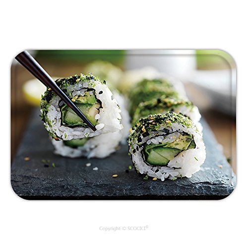 Flannel Microfiber Non-slip Rubber Backing Soft Absorbent Doormat Mat Rug Carpet Healthy Kale And Avocado Sushi Roll With Chopsticks 374861944 for (Hand Roll Sushi Costume)
