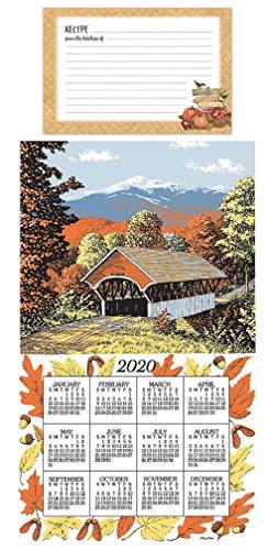 Bridge Linen - Kitchen 2020 Covered Bridges Calendar Towel Bundle with Autumn Harvest Recipe Cards