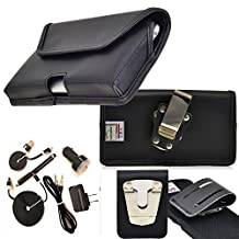 Rugged Heavy Duty Genuine Leather Horizontal Duty Belt Case with Magnetic Closure and 6pc USB Charging Kit fits Samsung Galaxy Note 5 with an Otterbox Case on it.