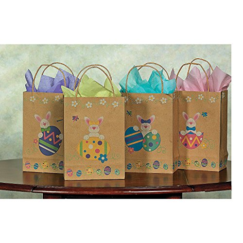 (Brown Paper Printed Easter Bunny & Eggs Gift Bags (12 Pack) 6 1/2