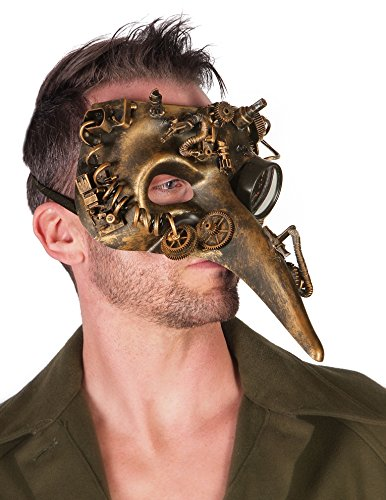 The Burning Man Costumes (Arsimus The Plague Doctor Victorian Steampunk Bauta Face Masquerade Adjustable Mask (Gold))